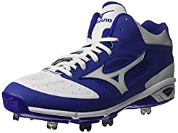 Mizuno Mens Dominant IC Mid Baseball Shoe, Royal White, 11.5 D US