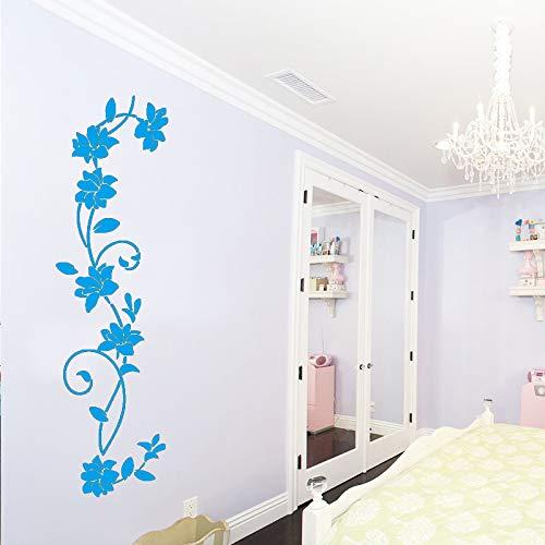 Nette Blumen Wandaufkleber Wandkunst Aufkleber Schlafzimmer Dekor Zubehör Dekor für Wohnzimmer Abnehmbare Babys Zimmer Muraux blau 20 cm X 72 cm