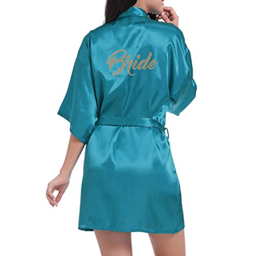 05f1ff93c7 Yying Bride Robes Satin Bridal Party Robe Dressing Gown Morning of Wedding  Day Robes Glitter Bride