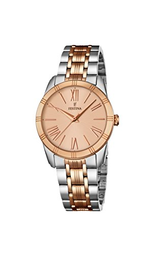 Festina BOYFRIEND Women's Quartz Watch with Rose Gold Dial Analogue Display and Multicolour Stainless Steel Rose Gold Plated Bracelet F16941/2
