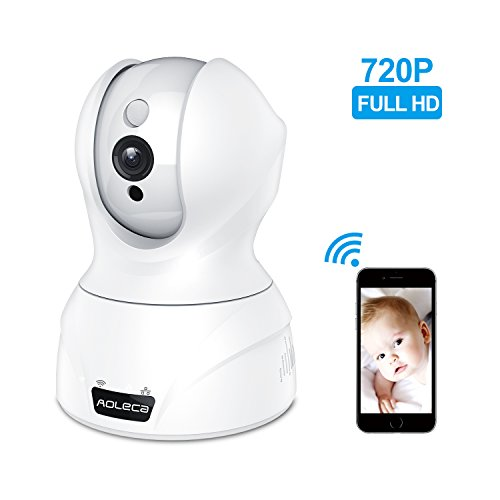 Aoleca IP WLAN Kamera 720P Wireless HD WiFi Dome Überwachungskamera Indoor Kabellose Hausüberwachung IP Cam Baby Monitor Mit Zweiwege-Audio, PIR Nachtsichtmodus, Alarm Informationen