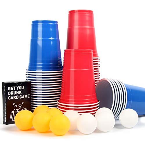 【100+10+Kartenspiel】Beer Pong Becher, Partybecher Trinkspiel Sets, 480ml Bierpong Cups mit Bällen, Plastikbecher Rot und Blau 16oZ, Lustige Trinkspiele, für Weihnachten Geburtstag Festivals Hochzeit -