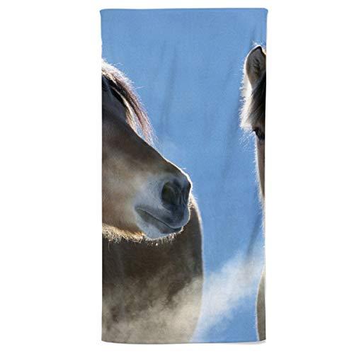 fotobar!style Duschtuch 70 x 140 cm EIN Motiv aus dem Kalender Fjordpferde - Norweger