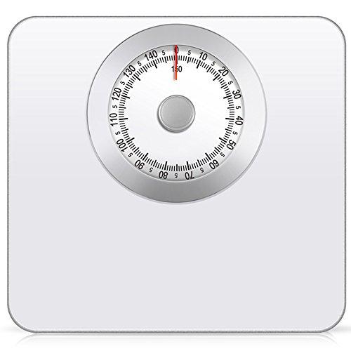 Electronic scale lvzaixi bilancia da bagno meccanica - pesatura rapida, accurata e affidabile, quadrante analogico facile da leggere, piattaforma metallica robusta (colore : bianca)