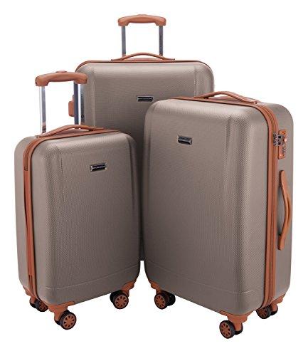 HAUPTSTADTKOFFER - Wannsee - 3er Koffer-Set Trolley-Set Rollkoffer Reisekoffer, TSA, (S/M/L), Champagner/Braun - 3-teiliges Polycarbonat-spinner