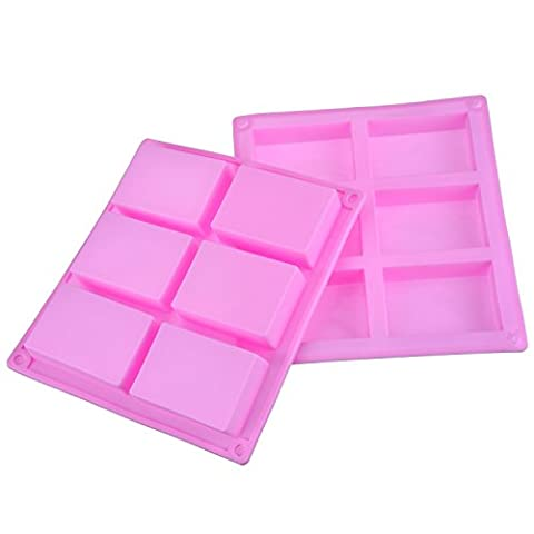 Outus 6 Cavity Silicone Rectangle Mold Soap Mold for Cake, Bread, Biscuit, Chocolate, 2 Pack (Pink)