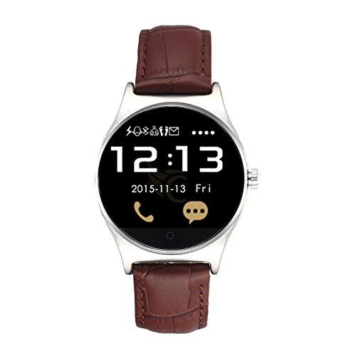 HAMSWAN RWATCH R11 Bluetooth Smartwatch für iphone und Android Handy Multifunctional Anruf Nachricht Schrittzähler integrierte Herzfrequenzmessung Mit Lederband und Infrarot-Fernbedienung (Braun und weiß)