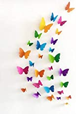 Jaamso Royals 'Multicolor 3D Butterflies' Wall Sticker (PVC Vinyl, 21 cm x 29.7 cm, 3D Stickers)