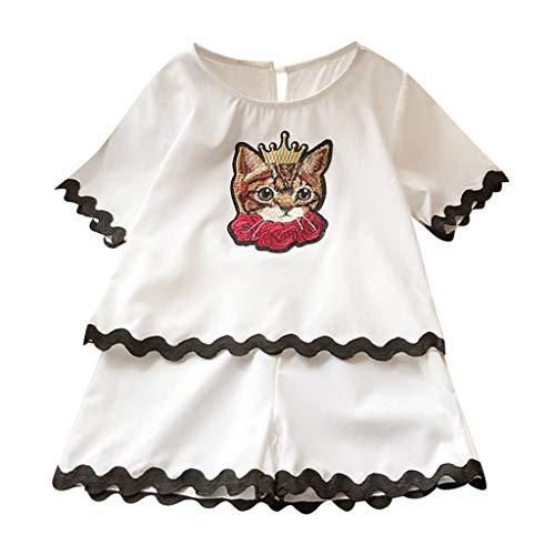 2 Pcs Outfits Set Kleinkind Mädchen Katze Stickerei T-Shirt Tops und Kurze Hose