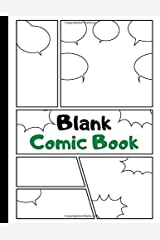 Blank Comic Book: Art and Drawing Comic Strips, Great Gift for Creative Kids   Green Paperback