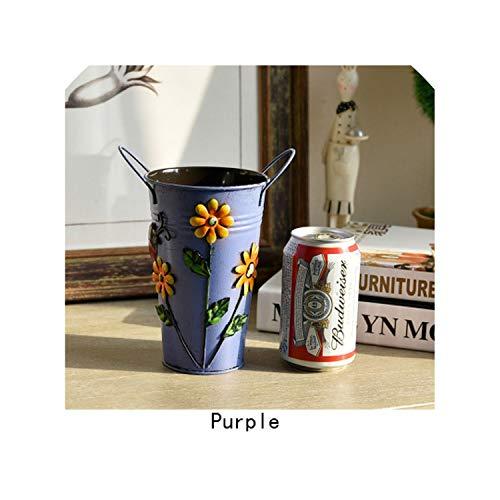 Vintage Verzinkte Metall Eisen Blumen Shabby Vase Topf-Fass-Pflanzer Gartendeko Artikel, Lila