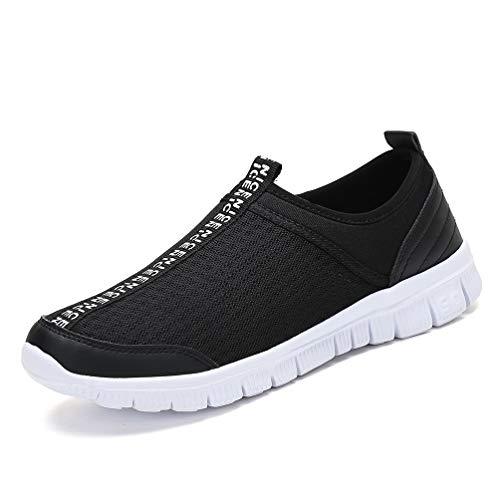 JINDENG Sportschuhe Unisex Leichte Atmungsaktive Anti-rutsch Wanderschuhe Anti-rutsch Slip on Casual Schuhe für Damen Herren(Schwarz-A,45)