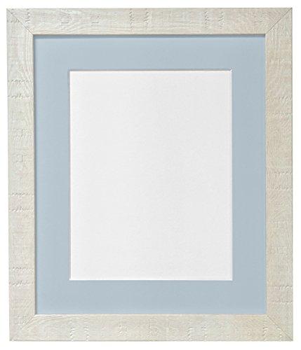 Frames by Post Bilderrahmen, A2, Deep Maserung, Hellblau, grau, mit Passepartout, Glas Bilderrahmen und Kunststoff, Größe A3, Off-White (Glas A2)