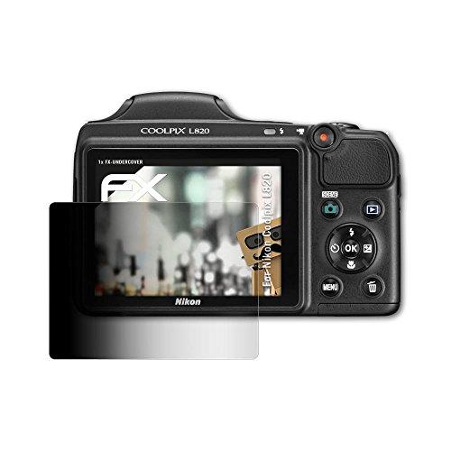 atFoliX Blickschutzfilter kompatibel mit Nikon Coolpix L820 Blickschutzfolie, 4-Wege Sichtschutz FX Schutzfolie