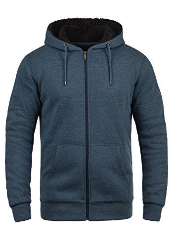 !Solid BertiZip Pile Herren Sweatjacke Kapuzen-Jacke Zip-Hoodie mit Teddyfutter aus hochwertigem Baumwollmaterial Meliert, Größe:XL, Farbe:INS BLU M (P8991)