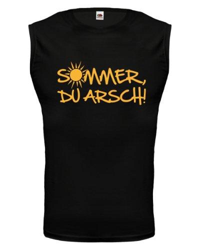 buXsbaum® Tank Top Sommer, Du Arsch! Black-Sunflower
