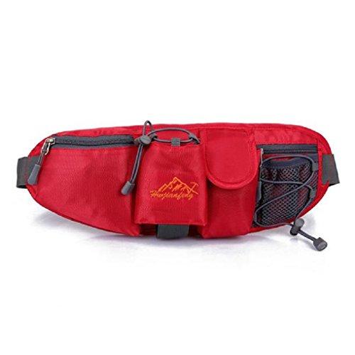 Fulltime® Wasserdichte Sport Hüfttasche Hüfttasche Nylongürteltasche Nachtsichtbarkeit für Jogging, Wandern, Laufen, Radfahren, Reisen, Fitness Center, Multi-Taschen für Getränke, Wasserflasche , Hand Rot