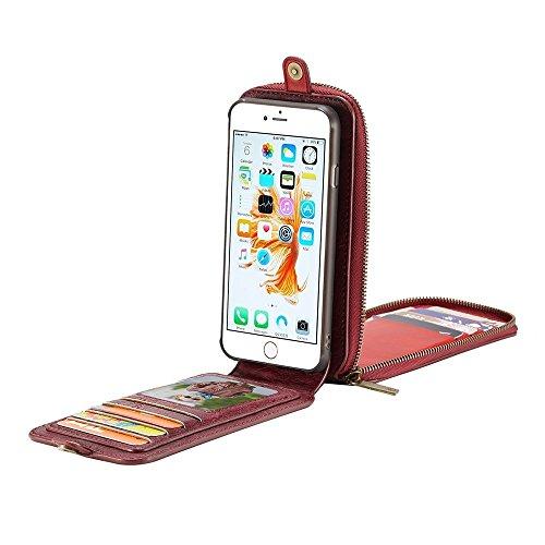 Phone case & Hülle Für IPhone 6 u. 6s, PU-verrückter Pferden-Beschaffenheits-magnetischer Schlag-abnehmbarer lederner Fall mit Haken u. Karten-Schlitzen u. Mappe u. Lanyard u. Foto-Rahmen ( Color : Bl Dark red