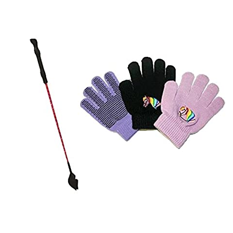 Childrens Horse Head Riding Whip & Horse Head Gloves (Purple Gloves Purple Whip)
