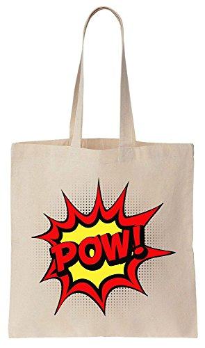 Pow! Pop Art Style Design Tote Bag Baumwoll Segeltuch Einkaufstasche