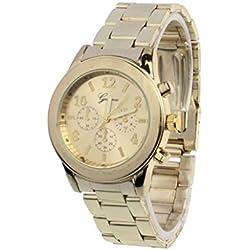 Familizo Unisex Stainless Steel Quartz Fold Over Band Wrist Watch Gold