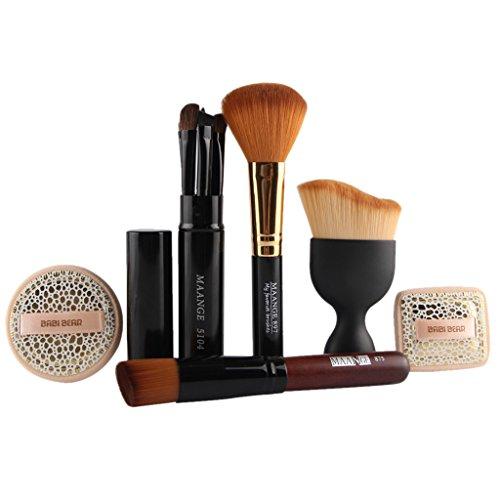 Sharplace 10pcs Kit d'Outils de Maquillage Pinceaux Brosses Cosmétique pour Peinture Visage Contour Yeux et Nez Poudre Fond de Teint avec Puff Eponge Make-up
