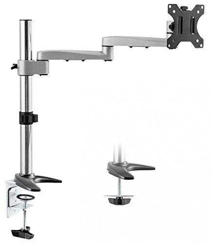 """RICOO Universal Monitor Halterung TS1711 Schwenkbar Neigbar Bildschirm Monitorhalterung Tischhalterung LCD LED TFT Curved 4K Bildschirmhalterung VESA 75x75 100x100 33-76cm 13""""-30"""" Zoll Silber Grau"""