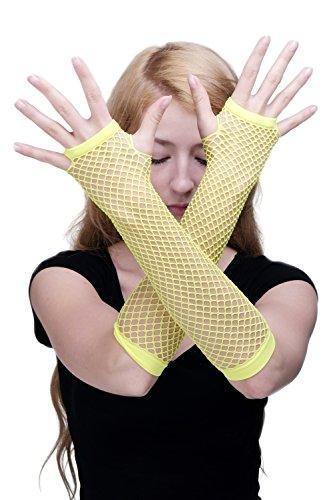 DRESS ME UP Karneval Fasching Handschuhe Netzhandschuhe Fishnet Gloves Neon Gelb Punk Wave Goth 80er Girly Z071