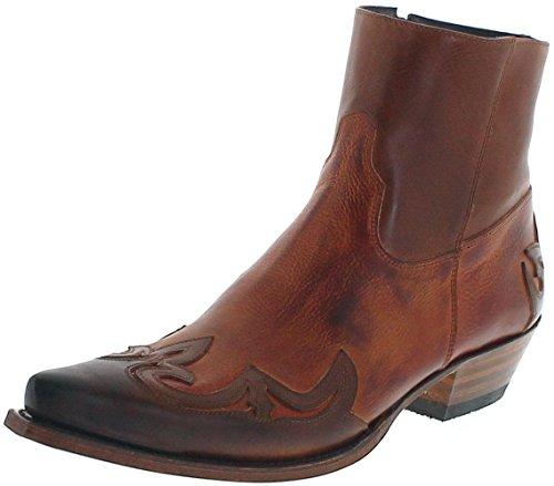 Braun Rindsleder Western-boot (FB Fashion Boots Sendra Boots 14379 Samuel Tang Papaya Lederstiefeletten für Herren Braun Westernstiefelette, Groesse:46)