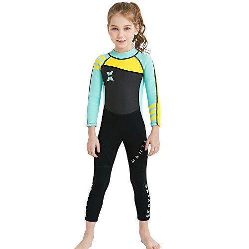 e Siamesische Strumpfhosen Langarm Neoprenanzug Surfing Thermische Badeanzüge Neopren UPF 50+ Schutz UV 2.5MM Wasser Sport Tauchen Anzug (Color : Blau, Größe : 10-12T) ()
