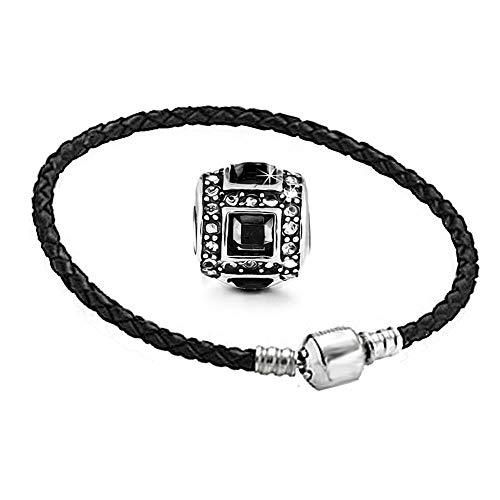 AKKi jewelry Beads Armband Set Edelstahl Perle bettel Leder-Armband Charms Bead Silber Original Strass mit Pandora Style Kompatibel NEU 17cm - Pandora Style Silber Armband