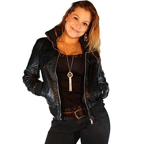 kunstlederjacke damen jacke in leder optik bikerjacke lederimitat in schwarz s 36. Black Bedroom Furniture Sets. Home Design Ideas
