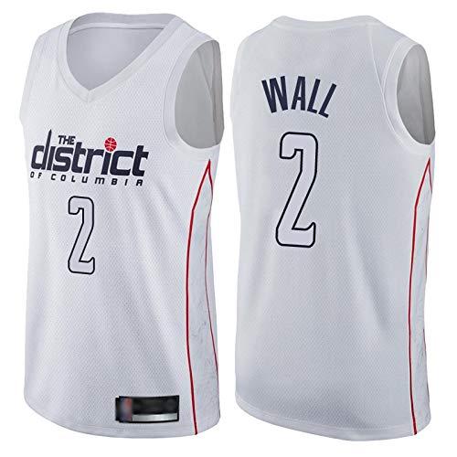 Z-ZFY Männer Und Frauen NBA Basketball Jersey - Washington Wizards # 2 John Wall Fans Jersey Klassische Ärmel Top Swinger Gesticktes T-Shirt,B,L175~180cm/75~85KG