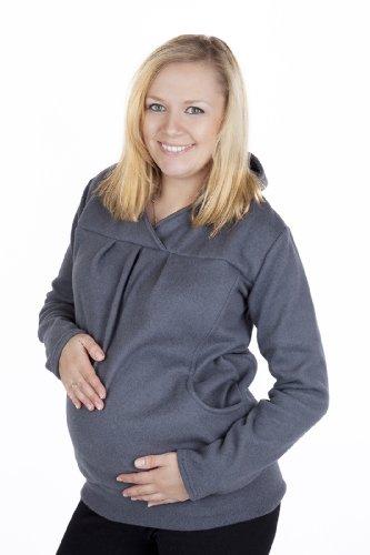Mija - Fleece Umstandspullover / Kapuzenpullover / Sweatshirt 3055 (S / M, Grau)
