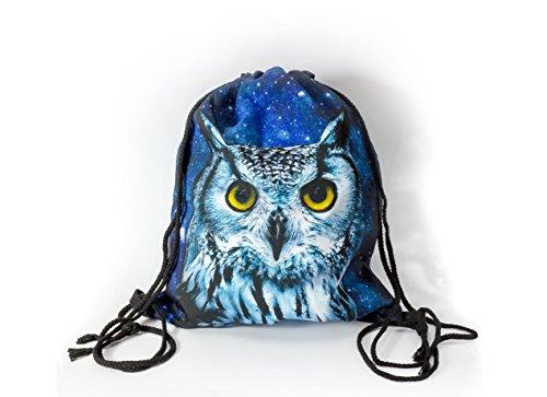 Premium Night Owl 3D Print Hipstertasche Turnbeutel Jutebeutel Eule Schneeeule Sporttasche Stoffrucksack Stringbag Gym Bag Kordelsack Rucksack Groß Faltbar