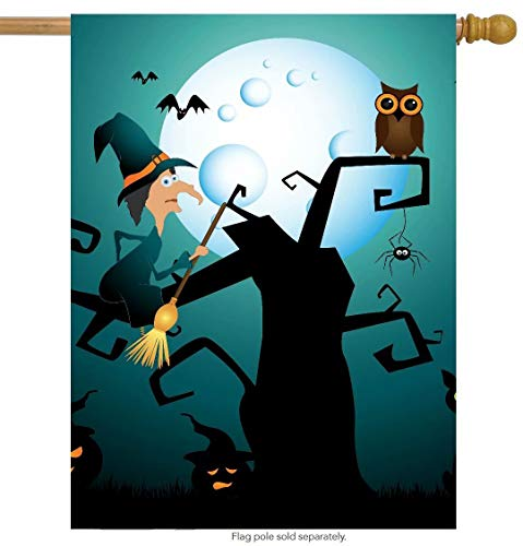 Funny Witch Owl Cat Halloween House Flag Double Sided, Polyester Autumn Spider Moon Pumpkin Bat Welcome Yard Garden Flag Banners for Patio Lawn Home Outdoor Decor(Size: 28inch W X 40inch H) (House Kit Bat)