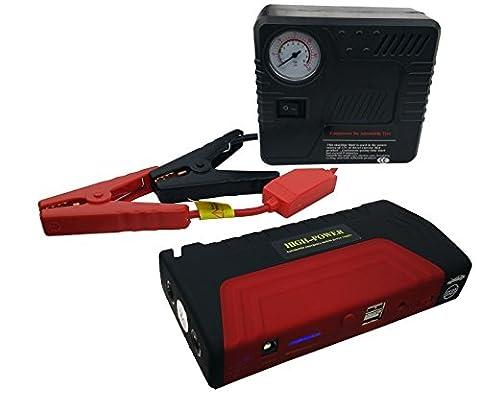 Bosdontek High Capacity Jump Car Starter avec Compressor, 16800mAh Chargeur portable voiture, Multi-Function Automobile alimentation électrique d'urgence, Mobile Power Bank avec Build-à LED