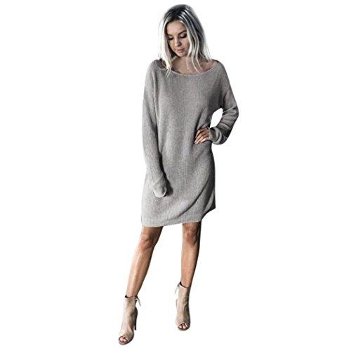 Kleider , Frashing Womens Winter Fleece Casual Langarm Vintage Strickpullover Langes Kleid Pullover Kleid (Grau, XL)