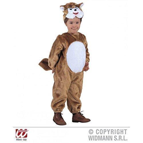 Braun - weißes Eichhörnchenkostüm mit Kopfbedeckung für Kinder, Kostüm Gr. 116 cm = 4 - 5 Jahre (Kind Eichhörnchen Kostüm)
