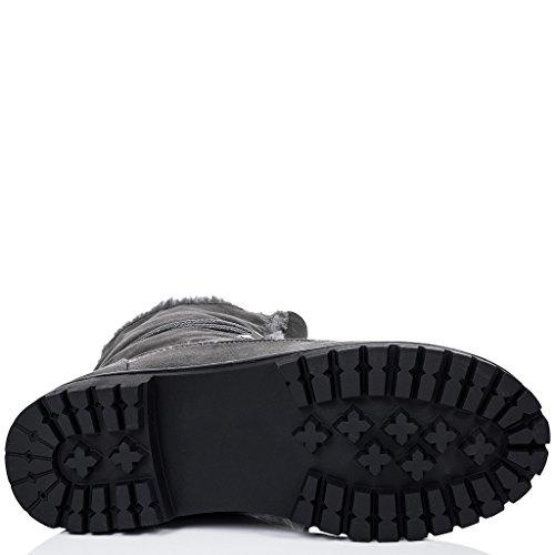 SPYLOVEBUY BABA Damen Schnür Flache Stiefeletten Schuhe Grau - Synthetik Wildleder