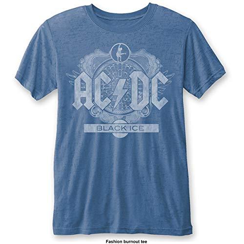 AC/DC Black Ice (Burn out) Camiseta, Grey Blue, Medium para Hombre