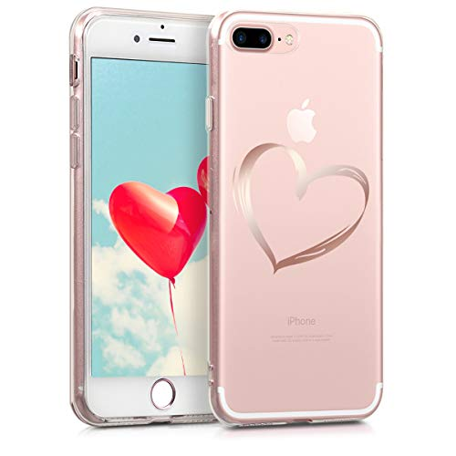 kwmobile Apple iPhone 7 Plus / 8 Plus Hülle - Handyhülle für Apple iPhone 7 Plus / 8 Plus - Handy Case in Rosegold Transparent