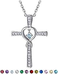 827d39b6782 Suplight Collier Femme Croix Argent 925 1000 Signe Infini Bijoux Pendentif  Plaqué Or Blanc avec Fausse Pierre de…