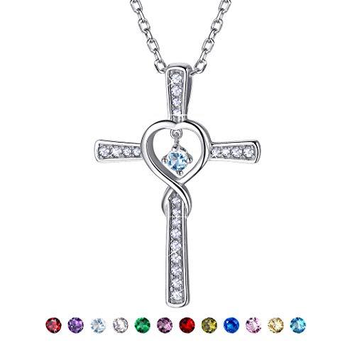 Suplight Kreuz Anhänger Halskette 925 Silber Schmuck Unendlichzeichen mit synthetischen Aquamarin Geburtsstein Monat März 46+5cm Rolokette für Mädchen (Aquamarin-kreuz-anhänger)