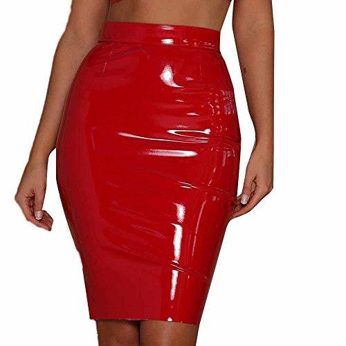 Damen Leder Rock Kurz,Tonsee Slim Fit Bodycon Elegante Röcke Minirock WetLook Clubwear Party Mini-Röcke (Rot, L) (Rot-leder-kleid)