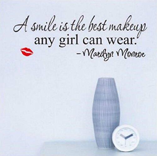Naisicatar Marilyn Monroe EIN Lächeln ist die Beste Make-up Vinyl-Wandaufkleber Wandabziehbild-Kunst-Tapete für Home/Zimmer/Büro Nursery Dekoration- des perfekten Geburtstag