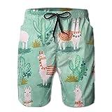 Animal Llama Cactus Men's Swim Trunks Board Beachwear Casual Beach Shorts for Men with Mesh Lining,Size:M