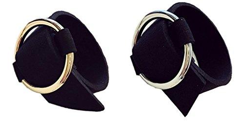 Unisex rotondi in pelle larghezza braccialetto anello in ottone, confezione da 2, base metal, colore: Pink, cod. EF0069-A