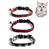 HUI JIN Adjustable Cat Collar Quick Release Cat Collar with Safety Buckle and Bell,Pack of 3