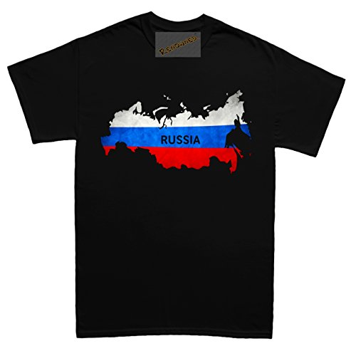 Renowned Russia Flag Map Grunge Unisex - Kinder T Shirt Schwarz